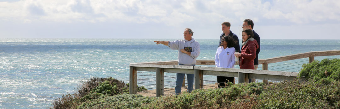 Coastal Science students overlooking the ocean with a professor